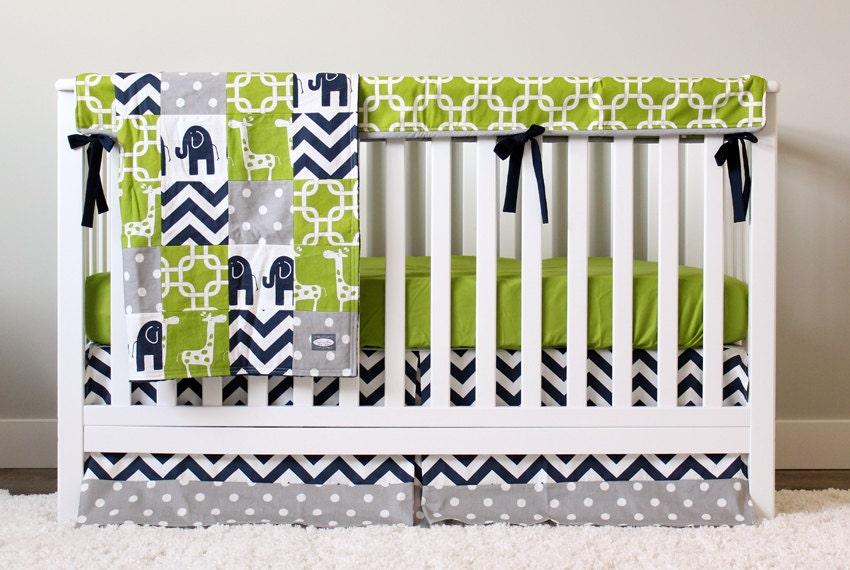 Boy Nursery Crib Bedding Set Baby Cribset Lime Green Navy