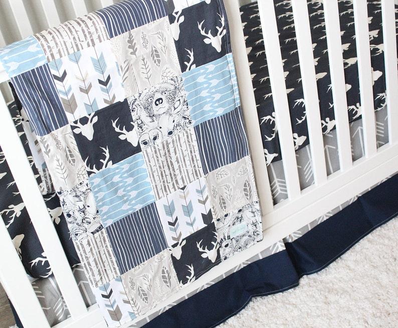 Boy Crib Bedding Set Woodland Quilt, Blue Deer Head Baby Bedding
