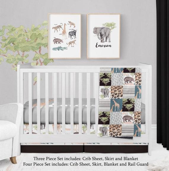 Personalized Crib Bedding For Safari, Purple Elephant Mini Crib Bedding