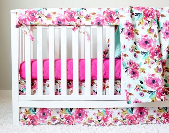 Floral Nursery Bedding Simple Floral Crib Bedding Baby Girl Nursery Crib Set Magenta Etsy