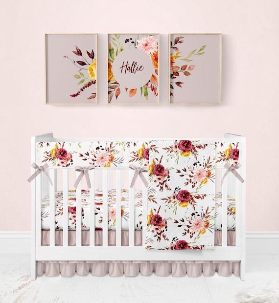 Baby Girl Crib Bedding Set Blush Pink, Blush Pink Baby Bedding