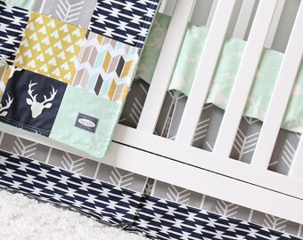 Crib Bedding Set Boy, Baby Nursery Deer Woodland Theme, Patchwork Blanket, Crib Sheet, Skirt and more