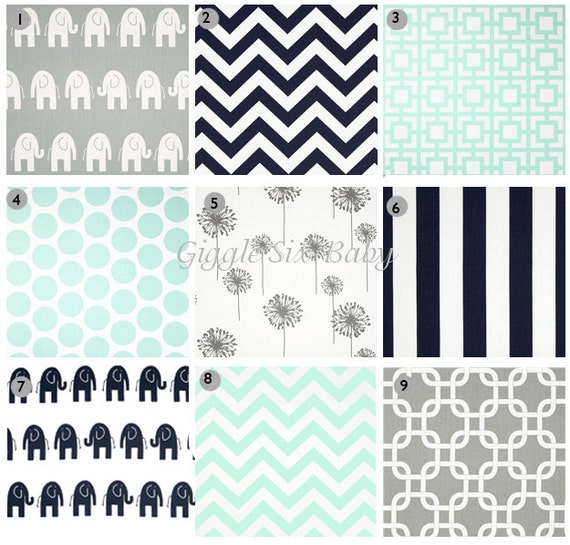 Items Similar To Mint Gray Navy Nursery Bedding Fabric
