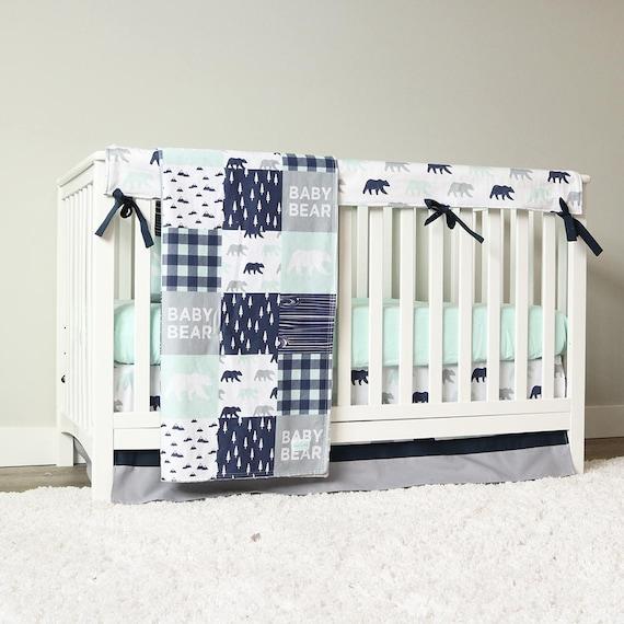 Baby Boy Crib Bedding Set Mint Bear Navy Blue Gray Etsy