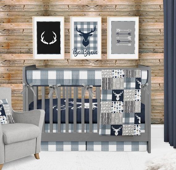 Baby Boy Crib Bedding Woodland Nursery, Buffalo Plaid Crib Bedding Set