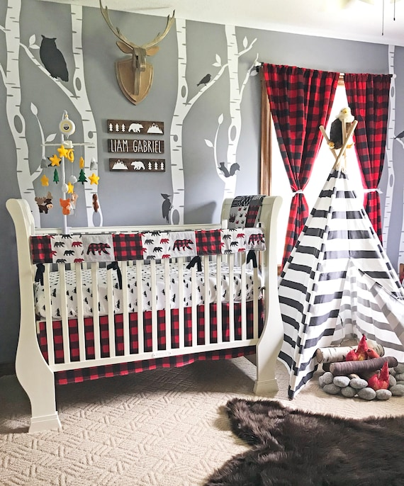 Crib Bedding Set Forest Adventure 3 Piece Boy Toddler and Crib Bedding Set in Red and Black Buffalo Plaid Handmade in The USA