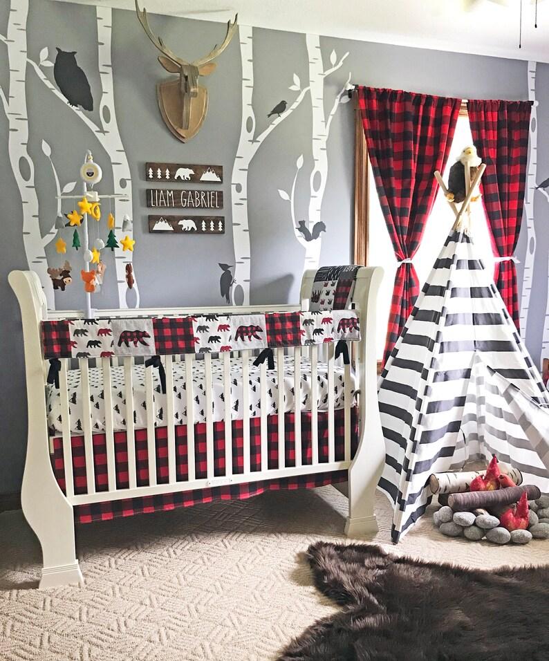 Baby Boy Crib Bedding Set Lumberjack Baby Bedding Mountain