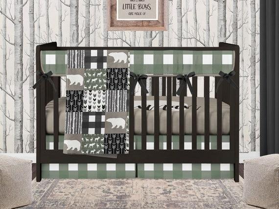 Bear Crib Bedding Set Baby Boy Green, Buffalo Plaid Crib Bedding Set