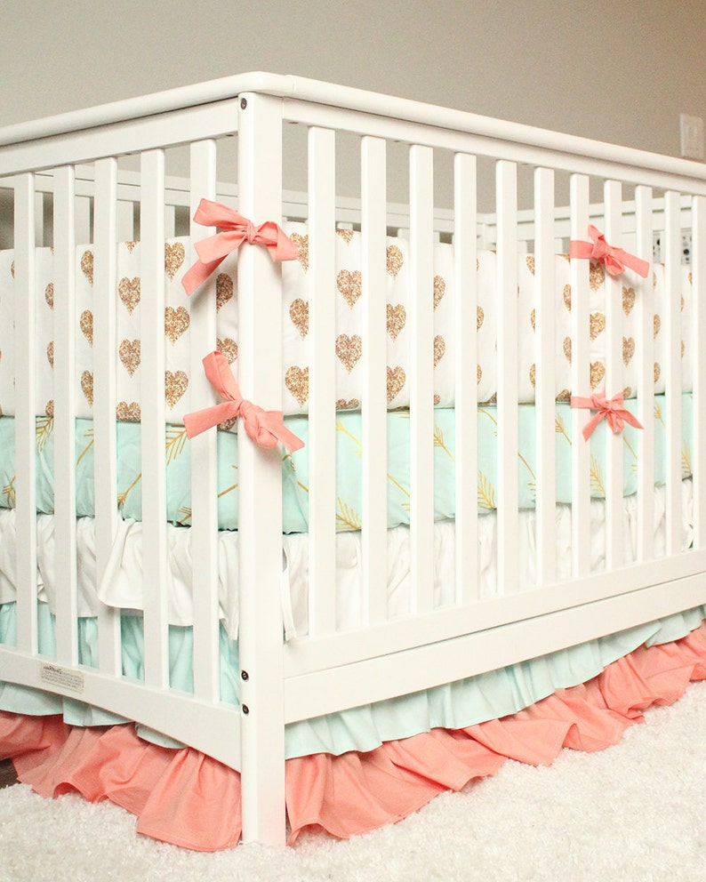 604fbc7b3b58a Baby Girl Crib Bedding Nursery Set, Gold Heart Bumper Pad, Ruffle Crib  Skirt, Mint Arrow Crib Sheet