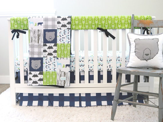 Crib Bedding, Baby Boy Nursery Set, Woodlands, Navy Blue Plaid Skirt, Green  Arrow Rail Guard, Triangle Sheet, Adventure Blanket, Bear Pillow