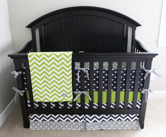 Lime Green And Gray Bedding: Boy Crib Bedding Lime Green Chevron Navy Blue And Grey