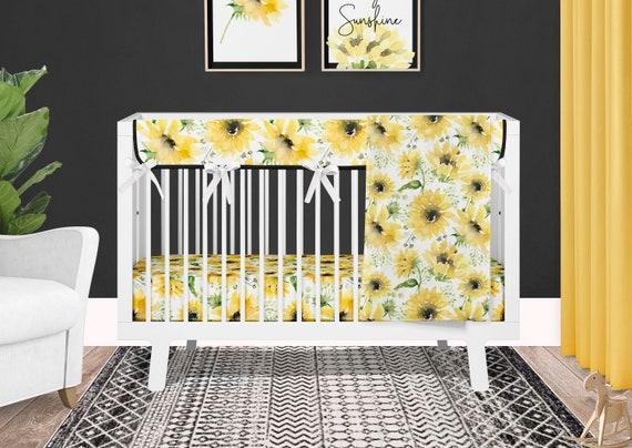 Sunflower Crib Bedding Set For Baby, Sunflower Crib Bedding