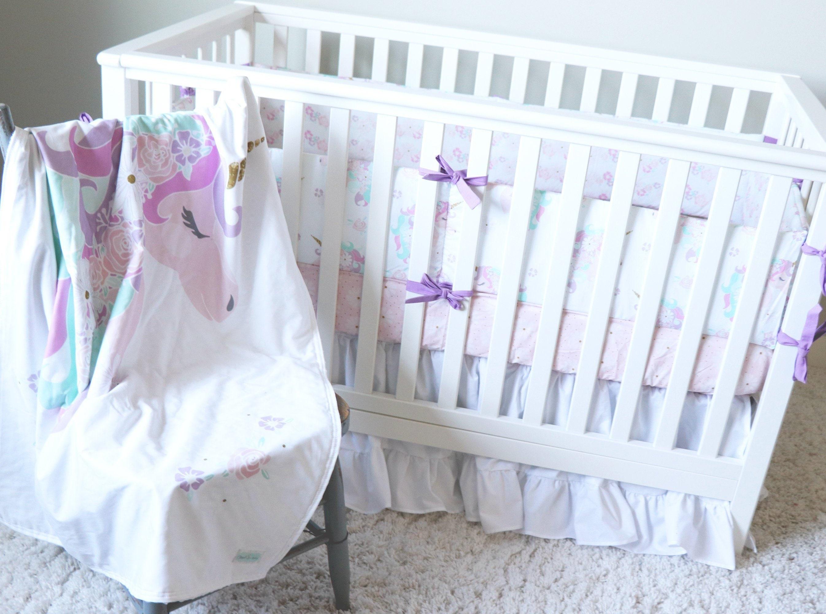 Unicorn Crib Bedding Set Baby Girl Nursery Bumper Pad Etsy