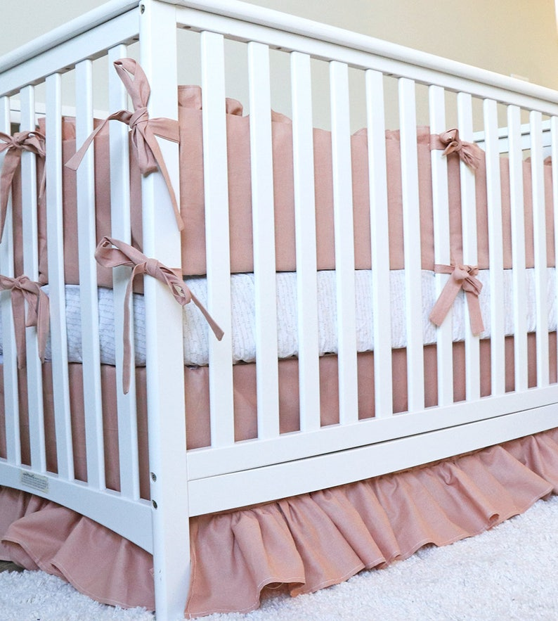 fcd240e33fe47 Linen Baby Girl Crib Bedding Set Rose Pink Linen and Taupe