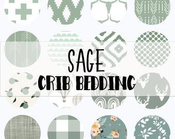 Baby Crib Bedding in Sage Green, Crib Sheet, Change Pad Cover, Baby Blanket, Shower Gift, Nursery Bedding Set