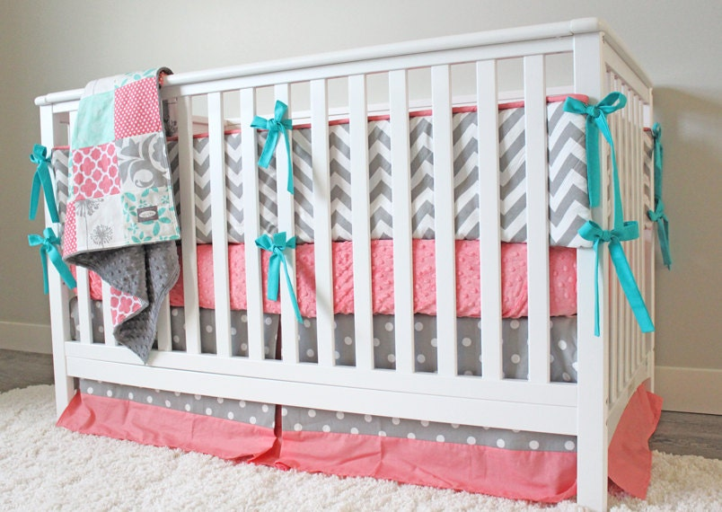 Baby Girl Crib Bedding Set Coral Gray And Mint Nursery With Etsy