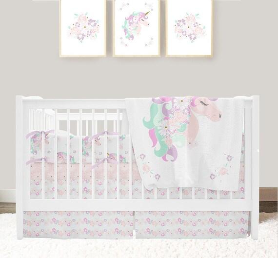 Unicorn Nursery Bedding Baby Girl Crib Bedding Set Unicorn Etsy