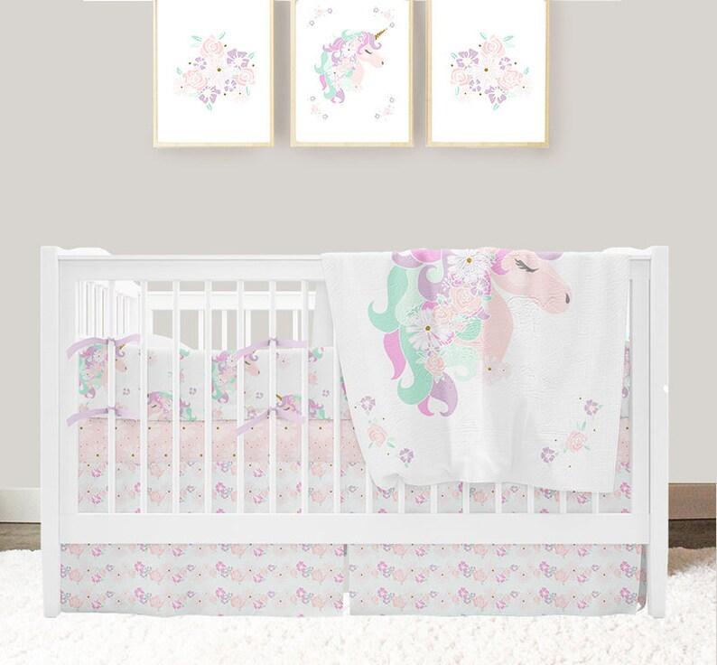 9de44edb4b0b5 Unicorn Nursery Bedding, Baby Girl Crib Bedding Set, Unicorn Baby Blanket,  Floral Crib Skirt and Crib Sheet, Unicorn Bumper Pad