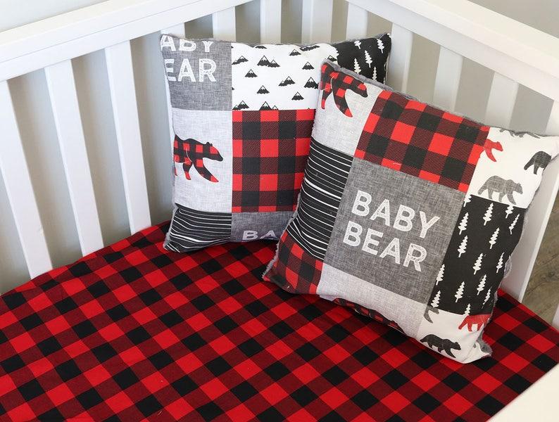 Buffalo Plaid Crib Sheet in Red and Black Lumberjack Bedding Woodland Baby Nursery
