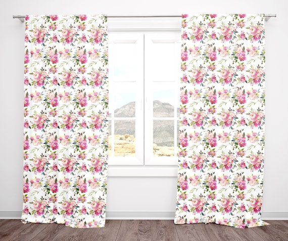 Floral Nursery Curtains Baby Girl Nursery Bedroom, Set of Curtain Panels,  Window Treatments, Pink and Peach Flowers