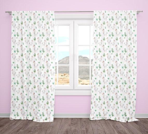 Llama Nursery Curtains Baby Girl Nursery Bedroom, Set of Curtain Panels,  Window Treatments