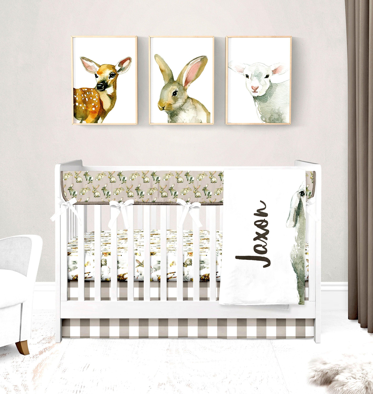 Baby Animals Crib Bedding Set, Gender Neutral Nursery, Bunny Rabbit Rail  Cover, Farm Animal Sheet, Taupe Plaid Skirt, Personalized Blanket
