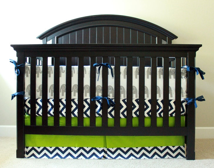baby boy nursery bedding set navy blue and lime green crib etsy. Black Bedroom Furniture Sets. Home Design Ideas