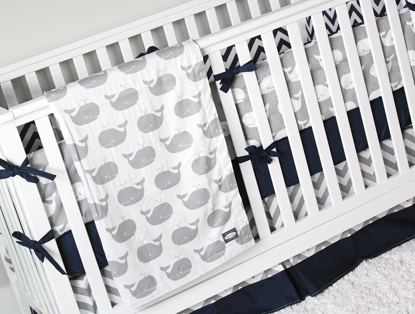 Nautical Boy Crib Bedding Whale Nursery Set Baby Bedding Etsy