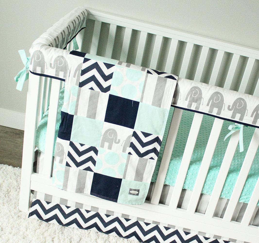 Elephant Baby Bedding Mint Gray And Navy Blue Nursery Set