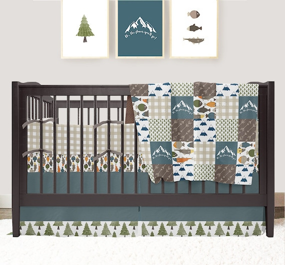 Fishing Nursery Mountain Crib Bedding Baby Boy Bedding