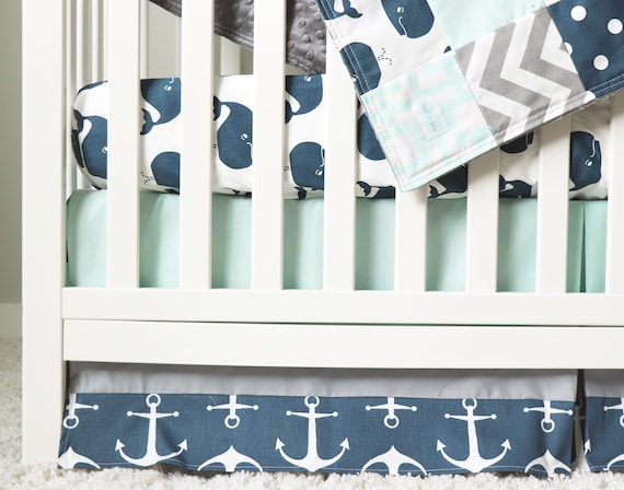 Whale Crib Bedding Set For Nautical Theme Baby Nursery Fitted Etsy