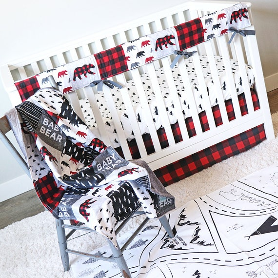 Baby Bear Woodlands Crib Bedding Red Plaid Crib Skirt