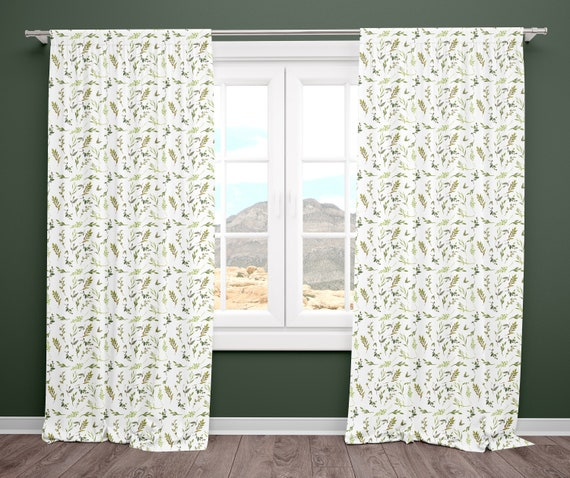 Green Leaves Nursery Curtains Baby Bedroom, Set of Curtain Panels, Window  Treatments, Leaf Garden Theme Nursery Decor