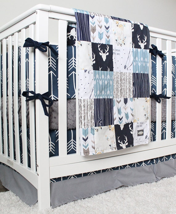 Baby Boy Woodland Nursery Boy Crib Bedding Set Navy Blue