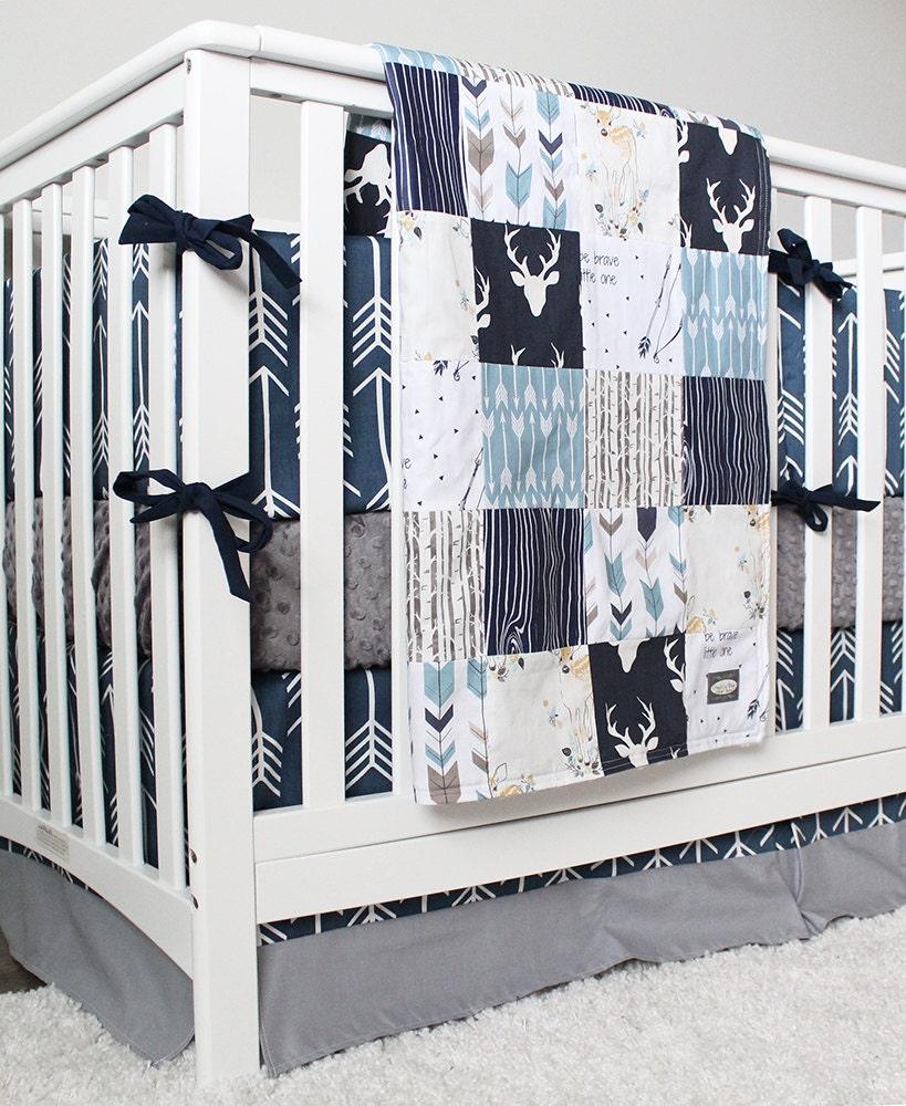 Baby Boy Woodland Nursery Boy Crib Bedding Set Navy Blue