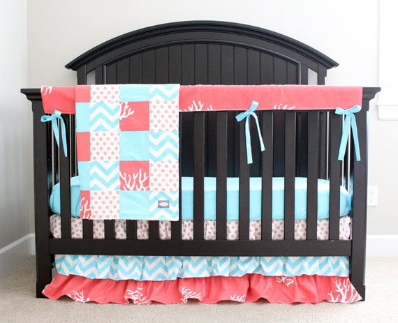 Baby Girl Crib Bedding Set Ocean Theme, Beach Themed Baby Crib Bedding