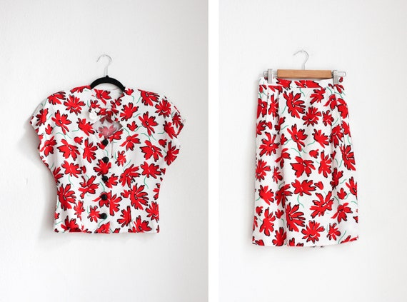 Vintage 50s Red & White Floral Print Skirt Suit