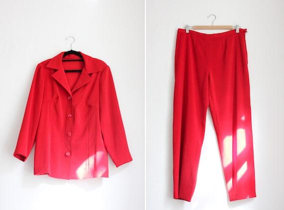 Vintage 80s Red Pant Suit - image 1