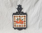 Vintage Cast Iron Trivet with Ceramic Tile Coffee Time Orange Flowers and Fruit