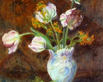 """Pink Parrot Tulip Flower Painting Original Oil Floral Still Life Impressionist Ready to Hang Wall Art 20 x 16 x 1 1/2"""" By Kim Stenberg"""