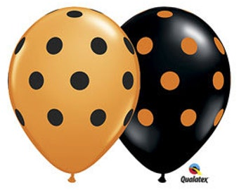 Halloween Trick or Treat Party Favor Polka Dot Balloons- Pack of 10 w/Tassels