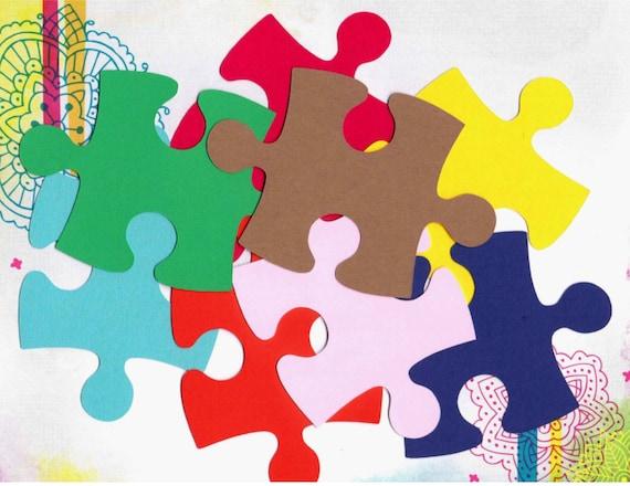 giant puzzle  Scrapbooking/ Autism Awareness 50 Giant Puzzle Pieces | Etsy