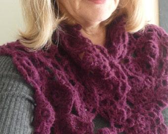 SALE 50% off Burgundy alpaca merino crochet scarf