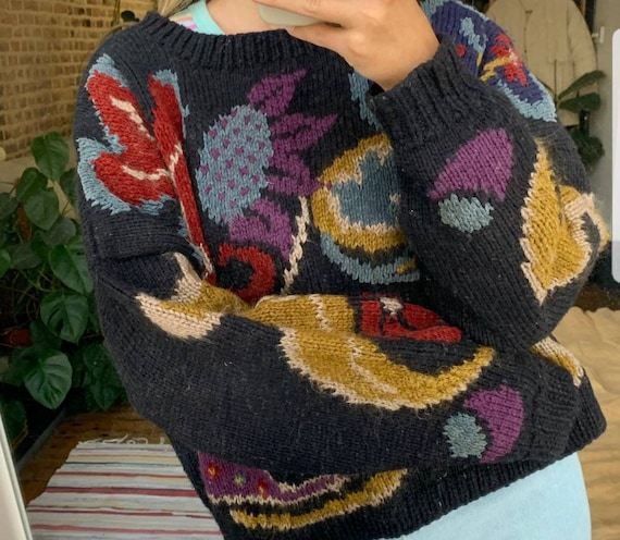 Gorgeous bold floral wool chenille mohair handknit