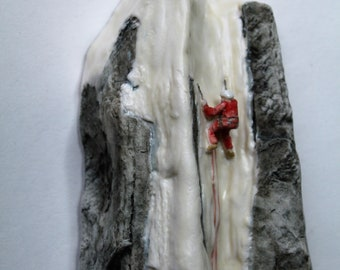 Wall Hanging Ice and Snow Rock Climber