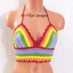 Hippie Crochet Rainbow Crop Top, Festival Rainbow Top by Vikni Designs
