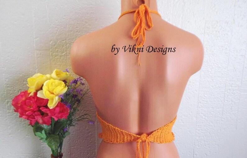 Lace Gypsy Hippie Crop Top A B Cup Size XS TN by Vikni Designs Orange Crop Top Festival Crochet Top