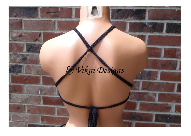 Cross Back High Neck Bralette Top Hippie Crochet Black Top by Vikni Designs