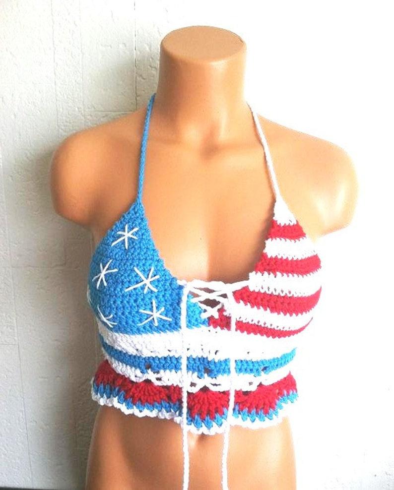 9cdb8a793e5d Vikni Crochet American Flag Crop Top Festival American Flag