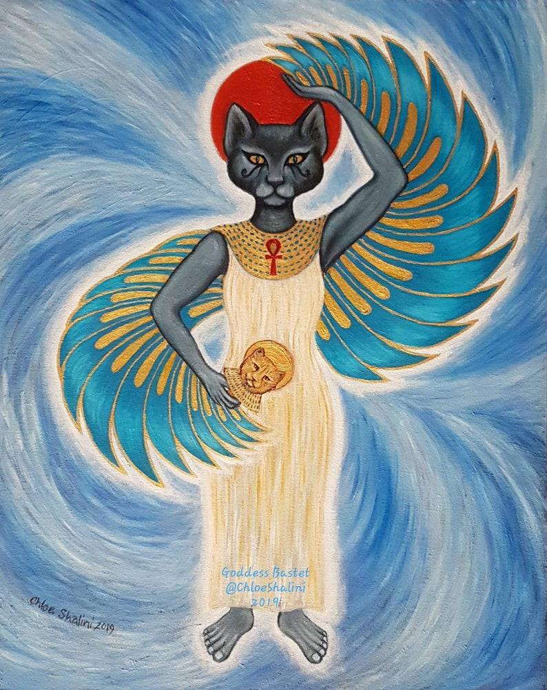 Egyptian Winged Goddess Bast goddess of protection Bastet art print Cat  Goddess wall art FREE U K p&p